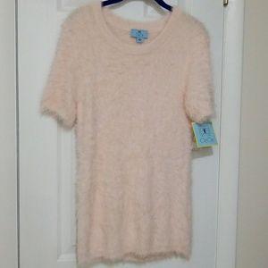 Cece pink fuzzy short sleeve sweater